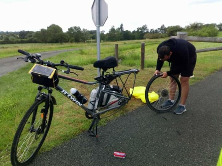 Bike repair on the side of the road